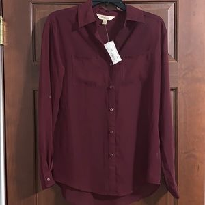 🆕 {Decree} Long Sleeve Button Up Pinot Noir NWT